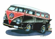 RED AND BLACK VW BUS CROSS STITCH CHART BN! FREE UK POST