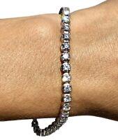 """14K White Gold 6ctw G-H Diamond Straight Line Bracelet 7"""""""