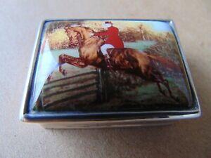 SUPERB STERLING SILVER ENAMEL HORSE ( FOX HUNTING ) PILL BOX BIRMINGHAM IMPORTED