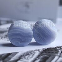 """Pair of Blue Lace Agate Natural Organic Stone Plugs gauges ear  2g - 1""""  10 SIZE"""