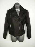 BNWT WOMENS NEW LOOK BLACK FAUX LEATHER PU ZIP UP CASUAL BIKER JACKET COAT UK 8