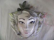 "Vintage Ceramic Wall Vase Pocket Mask Womans Head Face Pottery 9.5"" Headvase"