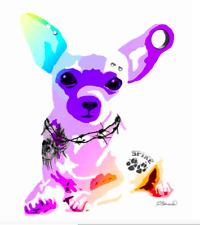 "NEW Dog CHIHUAHUA print TATTOO  8x10""  PIERCING EAR PLUG BAD BONE Fine Art ZA110"