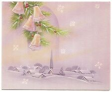 Vintage Greeting Card Christmas Bells Snow Winter Scene Houses Church PurpleL19