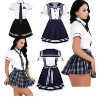 Japanese School Girl's Dress Outfit Cosplay Costume Sailor Pleated Skirt Uniform