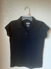 George Girls Black Knit School Uniform Polo Shirt Size 10-12