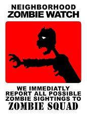 "TIN SIGN ""Zombie Watch"" Humor Deco  Garage Wall Decor"