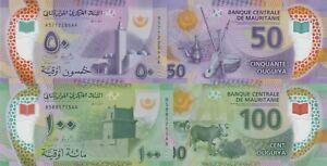 Mauritania 2 Note Set: 50 & 100 Ougiya (28.11.2017) Polymer- p22/p23 UNC