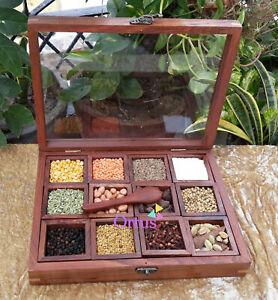 Handmade Wooden Spice Box, Wooden Masala Box, Wooden Utility Box Glass Top Gift