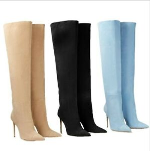 12cm Slim High Heel Stilettos Candy Color Women's Overknee Long Boots Pull On L
