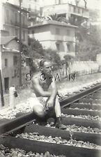 WWII German RP- Soldier- Semi Nude- Gay Interest- Sits by Railroad Tracks- Italy