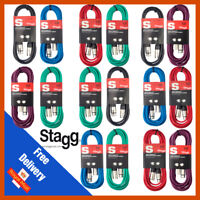Stagg 2 x 6M Colours XLR Male to Female Microphone Lead Audio Signal Cable Pack