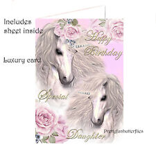 Birthday Card Special Daughter Unicorns ~ Girls Happy Birthday Card Luxury