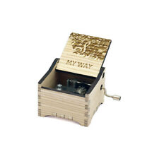 Personalized Hand Crank Wooden Music Box (Frank Sinatra - My Way)