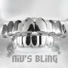 18K White Gold Plated GRILLZ 8 Tooth Top & Bottom Silver Teeth Mouth JOKER Grill
