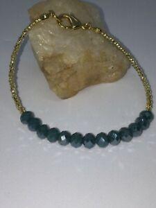 Gold & Teal Blue Stacking Friendship Bracelet