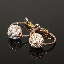"""REAL 9ct 9K """" Gold Filled """" Ladies made with Swarovski Crystal Earrings E553g"""