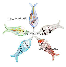FREE Wholesale 6pcs Fish Silver Foil Lampwork Glass Pendants DIY Necklace