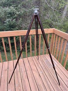 "Antique Wood Tripod Metal Head & Connectors 25 to 53"" Camera Surveyor Telescope"