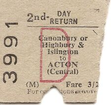 B.T.C. Edmondson Ticket - Canonbury or Highbury & Islington to Acton Central