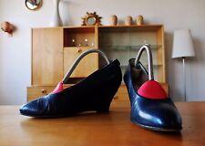 Maripé Damen Schuhe Pumps 90er Wedge 36,5 Blau uk3,5 Velour 90s True Vintage