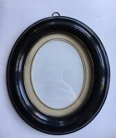 Biedermeier Bilderrahmen Oval Schleiflack Schwarz Fotorahmen 15,7 x 12,7 cm