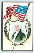 Postcard Patriotic George Washington Birthday Portrait American Flag K07