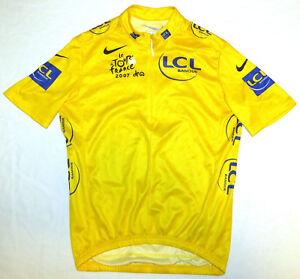 YELLOW TOUR DE FRANCE Cycling Jersey vtg Nike 2007 Ladies XL Banque LCL women's