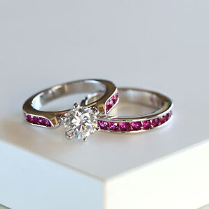 2pc Round Cut Hot Pink CZ Solitaire Bridal Ring Set Wedding Engagement