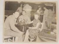 WWII Photo Beautiful Woman Airmen GI's at Officers Club Australia Military B&W