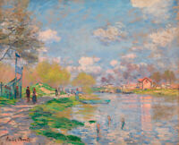 Spring Seine Claude Monet Wall Painting Print Canvas Giclee Reproduction Small