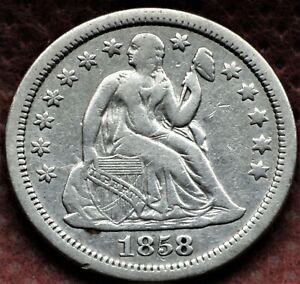 1858 Seated Liberty Dime Shipped FREE  CHA4
