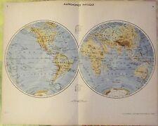 1962 Mappemonde Planisphère Forêt Équatorial à Sumatra Indonésie et la Lune