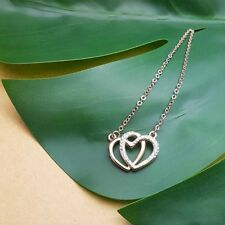 Stunning ROSE GOLD & Cubic Zirconia DOUBLE HEART pendant necklace - Valentines