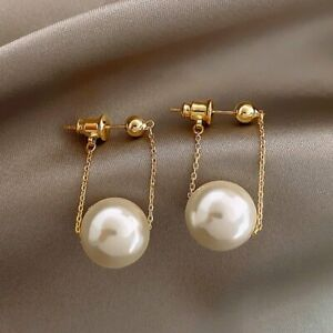 2021 Fashion Gold Big Pearl Chain Earrings Stud Drop Dangle Women Jewelry Gifts