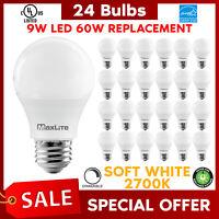 Lot Of 24 Maxlite 9w LED Bulb 60 watt replace A19 Soft White 2700K LED Light 60w