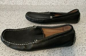 Bacco Bucci Men's Size 10 Black Leather Driving Loafers Devers Moccasins Shoes