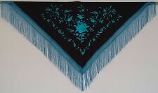New Spanish Flamenco Shawl Large - Black with Turquoise Pattern and Blue Fringe