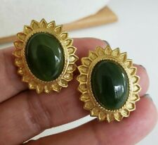 Vtg Polcini Jade Cab Oval Flower Gold Tone Clip Earrings