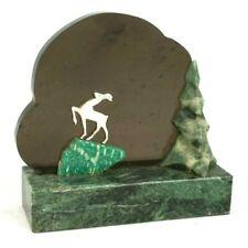 Deer Souvenir Landscape Stones Natural Semiprecious Smoked Quartz Silvered Metal