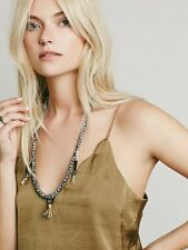 New Free People Kipu Tassel Mala Hand Carved & Dyed Beaded Black White Necklace
