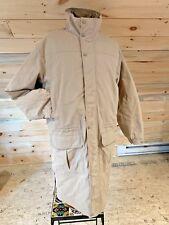 L.L. BEAN Stone Long Winter Trench Coat Wool Angora Plaid Lining Men's L Tall LT