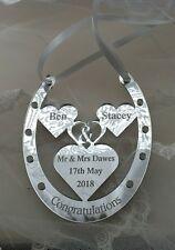 Personalised wedding present horse shoe Mrs & Mr Dawes bride groom keepsake