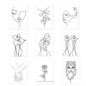 Girl Line Drawing Canvas Painting Poster Wall Hanging Picture Home Art Decor