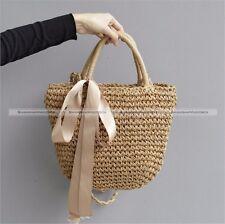 Fashion Brown Bowknot Straw Beach Bag Tote Basket Handbag Shoulder Bag S4