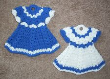 DRESS POTHOLDERS, Crochet, PAIR, New, BLUE AND WHITE, Handmade, SET OF 2