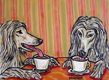 afghan hound at the Coffee shop cafe artwork  art print 8.5x11 glossy