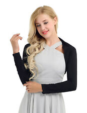 Womens Long Sleeve Cotton Bolero Shrug Crop Top Stretch Short Cardigan Sweater