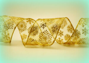 """Luxury Wire Edged Gold Glitter Snowflake Wired Ribbon 2.5"""" wide Christmas Tinsel"""