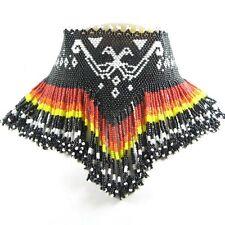 Handmade Royal Black Fire Pattern Thunderbird Beadwork Necklace Earrings Set